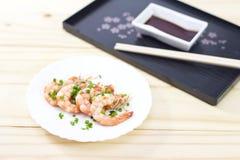 Cozinhando o camarão Fotografia de Stock
