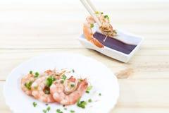 Cozinhando o camarão Imagem de Stock