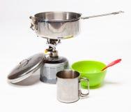 Cozinhando o equipamento do turista Foto de Stock
