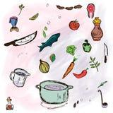 Cozinhando o esboço Fotos de Stock Royalty Free
