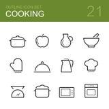 Cozinhando o grupo do ícone do esboço do vetor Imagens de Stock