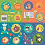 Cozinhando o grupo quadrado dos conceitos Processo de cozimento, ilustração do vetor do projeto do vetor das receitas do alimento ilustração do vetor