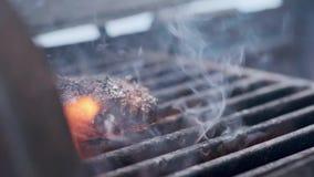 Cozinhando o Hamburger Costoleta da carne ou da carne de porco que grelha na grade Cozinhe o homem que prepara um rissol do hambu filme