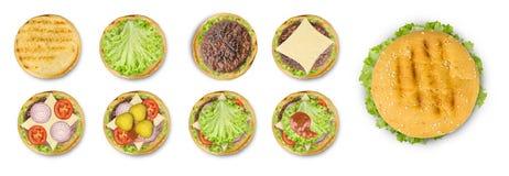 Cozinhando o hamburguer isolado ponto por ponto no fundo branco fotos de stock