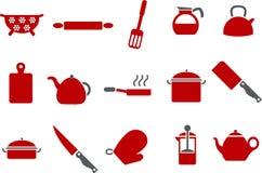 Cozinhando o jogo do ícone das ferramentas Imagens de Stock