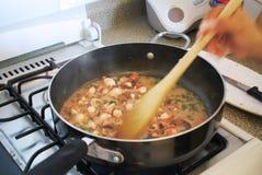 Cozinhando o marisco fotografia de stock