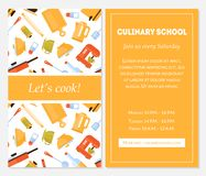 Cozinhando o molde da bandeira de escola, deixa o cozinheiro Invitation Card com lugar para utensílios do texto e da cozinha para ilustração royalty free