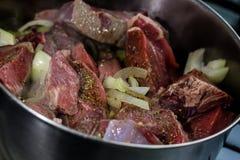 Cozinhando o potenciômetro com carne cozinhada metade Imagens de Stock