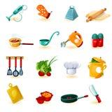 Cozinhando os ícones ajustados Imagens de Stock