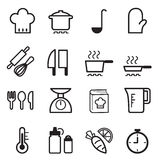Cozinhando os ícones ajustados Ilustração do Vetor