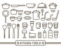 Cozinhando os ícones das ferramentas ajustados Foto de Stock