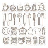 Cozinhando os ícones das ferramentas ajustados Fotos de Stock Royalty Free