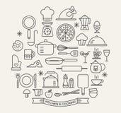 Cozinhando os ícones dos alimentos e da cozinha ajustados Foto de Stock Royalty Free