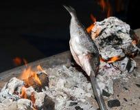 Cozinhando os peixes grelhados Foto de Stock