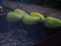 Cozinhando a pimenta em um espeto sobre os carvões Chargrill imagem de stock