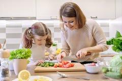 Cozinhando a refei??o saud?vel da casa pela fam?lia A m?e e a filha cortaram vegetais em casa na cozinha para a salada imagens de stock