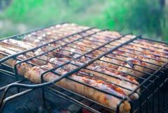 Cozinhando salsichas alemãs nos carvões Piquenique foto de stock