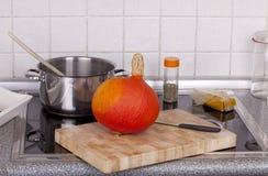 Cozinhando a sopa da abóbora do Hokkaido Imagens de Stock Royalty Free