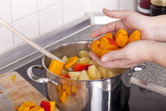 Cozinhando a sopa da abóbora do Hokkaido Imagem de Stock