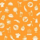 Cozinhando, teste padrão sem emenda, laranja, vetor ilustração royalty free