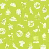 Cozinhando, teste padrão sem emenda, verde, vetor ilustração stock