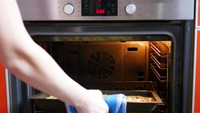 Cooking berry pie at home in oven Stock Footage