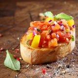 Cozinhando o bruschetta colorido Foto de Stock