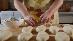 cozinhar Uma mulher põe um enchimento da torta vídeos de arquivo