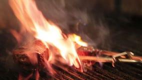 Cozinhe assados a carne sobre o calor elevado na grade filme