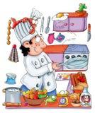 Cozinhe no restaurante, cozinheiro chefe no restaurante, saltando um ovo Imagens de Stock Royalty Free