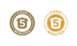 Cozinhe o cozimento do cereal e da massa do ícone de 5 minutos ilustração do vetor