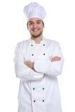 Cozinhe o estagiário do aprendiz que cozinha o homem novo do trabalho isolado imagens de stock