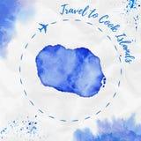 Cozinhe o mapa da ilha da aquarela de Islands em cores azuis Imagens de Stock