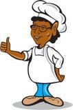 Cozinheiro afro-americano Thumbs Up Cartoon do cozinheiro chefe Fotos de Stock