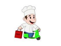 Cozinheiro amigável novo da entrega com motocicleta Imagens de Stock Royalty Free