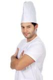Cozinheiro atrativo feliz foto de stock royalty free