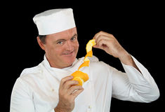 Cozinheiro chefe alaranjado descascado fotos de stock royalty free
