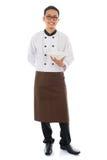 Cozinheiro chefe asiático que guarda uma placa vazia Imagens de Stock Royalty Free