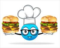 Cozinheiro chefe azul dos povos com hamburguer da pizza Imagens de Stock