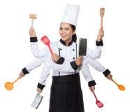 Cozinheiro chefe bonito da mulher na ação Imagem de Stock Royalty Free