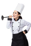 Cozinheiro chefe bonito da mulher na ação Imagens de Stock Royalty Free