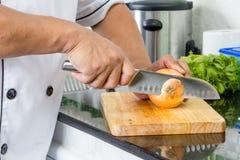 Cozinheiro chefe Chopping Onion fotografia de stock