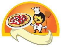 Cozinheiro chefe com bandeira da pizza Foto de Stock Royalty Free