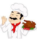 Cozinheiro chefe com a galinha ou o peru roasted Fotografia de Stock Royalty Free