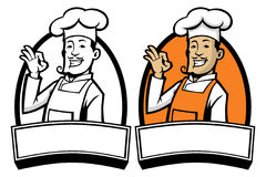 Cozinheiro chefe com mão aprovada do sinal Fotos de Stock