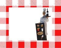 Cozinheiro chefe com menu do quadro-negro Imagens de Stock