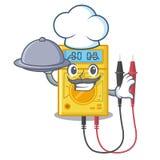 Cozinheiro chefe com os brinquedos do multímetro digital do alimento na forma dos desenhos animados ilustração stock