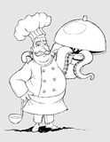Cozinheiro chefe com os pratos da assinatura dos tentáculos. A mão livre  Fotografia de Stock