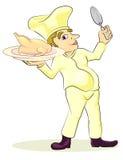 Cozinheiro chefe com pintainho do assado Fotografia de Stock Royalty Free