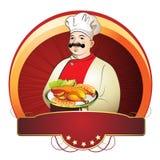 Cozinheiro chefe com placa Foto de Stock
